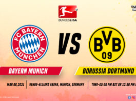 Bayern Munich VS Dortmund time, date and venue